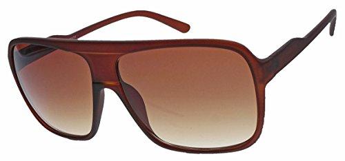 Old School Sonnenbrille Herren Nerd Brille 80er Jahre Flat Top oversized MODELLWAHL F79 (M1: Cognac)