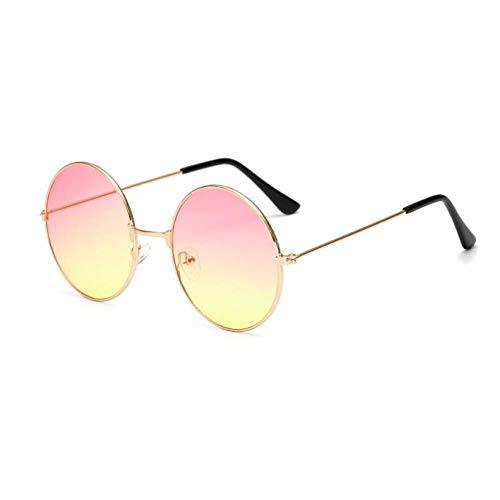 YHEGV Frauen Männer Runde Sonnenbrille Steampunk Shades Multicolor Gradient Mirror Lens Brille Designer Vintage Sonnenbrille