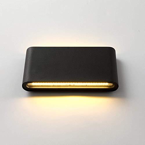 Topmo 12W LED Wandlampe Wasserdichte IP65 Wandbeleuchtung LED Außenwandleuchten 3000K warmweiß 18CM (schwarz)