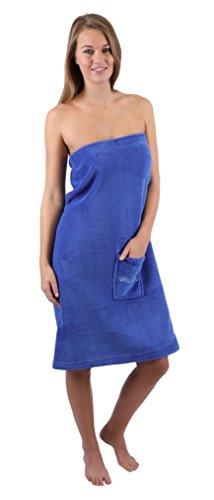 Betz Saunakilt Sauna Kilt Damen Coralfleece Farben blau beige Größe Damen / blau