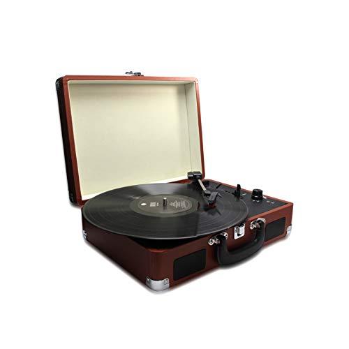 METRONIC 477181 Platine Vinyle 33/45/78 Tours avec Haut-parleurs intégrés et connectique RCA, Prise Casque - Marron