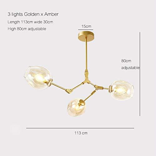 Vintage magische Hängeleuchte stilvolle Kugel Kugel Industrie LOFT Eisen Droplight Schwarzgold Baum klassische moderne LED Pendelleuchte, 3 Leuchten, schwarzer Lampenkörper, Klarglas (Klarglas Pendelleuchte 3)