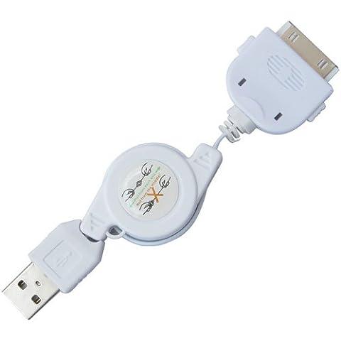 Daffodil IPC100 Cable de datos y de carga para iPhone - Retráctril hasta 50cm - Compatible con iPod / iPhone / iPad - Cargador USB a 30 Pin Apple [Color Blanco]