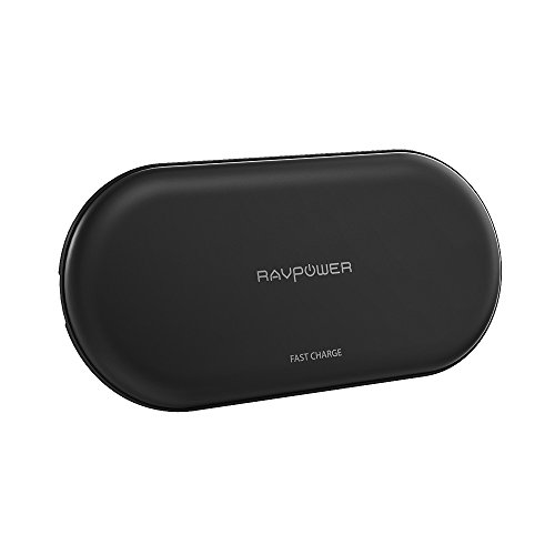 RAVPower Ricarica Wireless 4 Bobine, per iPhone X/iPhone 8/8 Plus, Caricabatterie Qi Wireless per Galaxy S8 Note 8 e per Tutti i Dispositivi Dotati di Tecnologia Qi (Adattatore QC 3.0 Incluso)