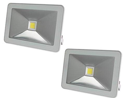 2er Set Strahler weiß mit 10W LED warmweiß, Befestigungsbügel, flaches Design, IP65 -