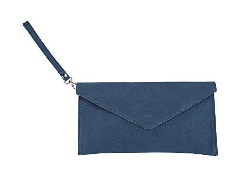 scarlet bijoux-Damen Clutch Tasche Unterarmtasche Abendtasche Umhängetasche jeansblau ca. 31,5 x 16,5 x 1,0 cm (B x H x T)