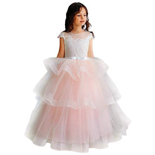 CQDY Blumenmädchen Spitzenkleider Hochzeit Brautjungfer Blumenmädchen Kleid Formale Party Pageant Prom Ballkleid Weihnachten Geburtstag Geschenke (10-11 Jahre, rosa 1)