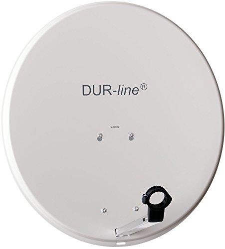 DUR-line MDA 60cm Hellgrau - Aluminium Satellitenschüssel mit LNB Feedhalterung - Sat Antenne Spiegel Anlage [Digital, Camping, Astra 19,2°, DVB-S/S2, Full HD, 4K, 3D]