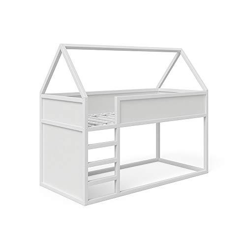 VitaliSpa Hausbett Hochbett Pinocchio Spielbett Kinderbett Leiter Erle weiß Jugendbett 90 x 200 cm inkl. nutzbarer Fläche unter dem Bett