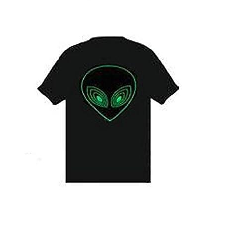 Green Alien Sound Reactive Equalizer EL Flashing T-Shirt - Size XX-Large