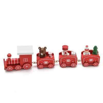 thematys Holz-Eisenbahn Weihnachtszug in 3 verschiedenen Designs - die perfekte Weihnachts-Deko für gemütliche Weihnachtsstimmung (Rot)