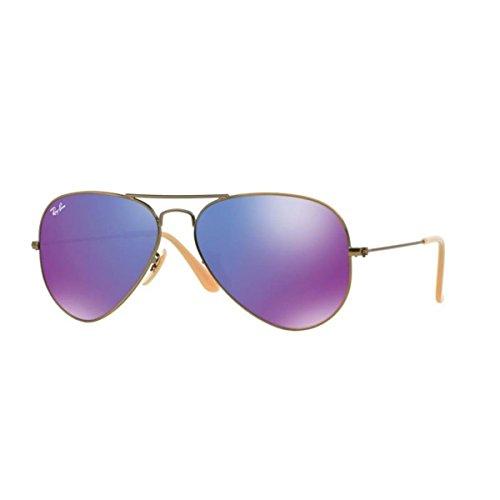 Ray-Ban Unisex Sonnenbrille Aviator Mehrfarbig (Gestell: bronze/kupfer, Gläser: grau verspiegelt lila 167/1M) Large (Herstellergröße: 55)