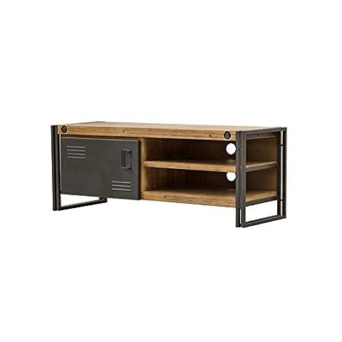 Meuble TV / buffet bas vintage 1 porte & 2 niches / Bois d'acacia massif et métal / Haute qualité – Collection Workshop