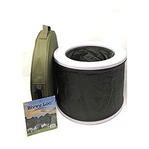 Bivvy Loo + Deckel – Tragbare Camping WC -Campingtoilette – Festival WC – Angeln Toilette – Outdoor Camping WC – Falten weg Wohnung – Unterstützt über 150kg – Camping Toilette – Portable Toilette