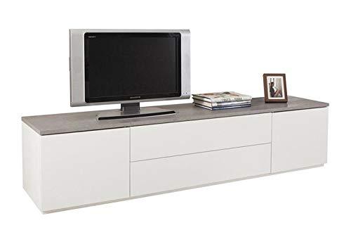 Möbel Akut Lowboard Privilegio TV Unterschrank weiß Hochglanz Beton grau Push-to-Open 200cm breit -