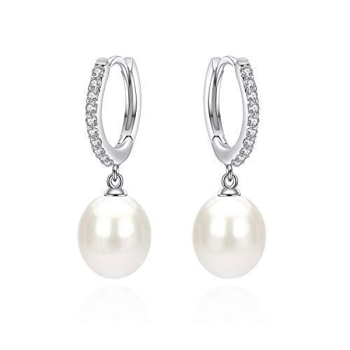 Sterling Silver CZ AAA 8.5-9mm perle a goccia orecchini per ragazze