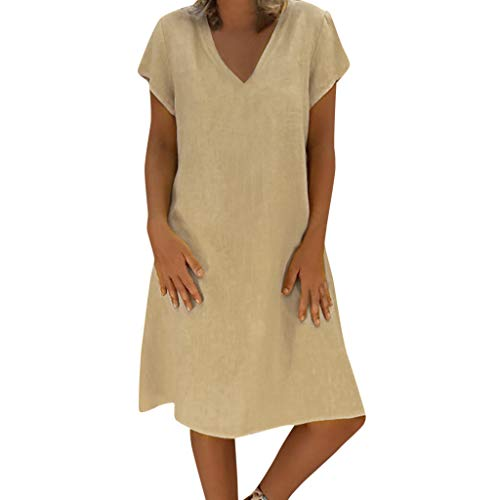 (BURFLY Damen Sommer Neue einfarbig leinen Dress Damen Simple Plain EIN Wort Rock schlank Dress knielangen)