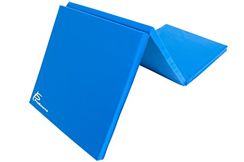 ProSource Tri-Fold Dicke Übungsmatte, Faltbar 15,2x 5,1cm mit Tragegriffen für MMA, Gymnastik, Stretching, Core Workouts, Blau (Mat Tri Fold)