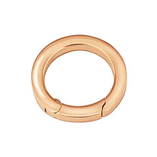 Quiges Clip Ring Carrier Roségold 22 mm Edelstahl Verbindungsring für Kette und Coin Anhänger mit Karabiner Haken Verschluss -