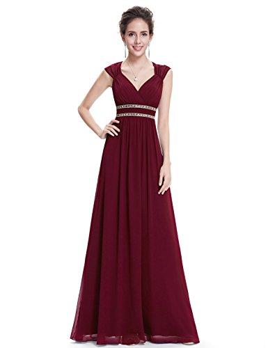 Ever-pretty vestito da sera maxi donna sottile di pizzo senza schienale vestiti da cerimonia 36 borgogna