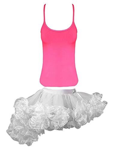 Islander Fashions Girls Fancy Neon Rosa Weste Top Kinder Wei� Burlesque R�schen Tutu Rock Outfit Set 7-8 Jahre