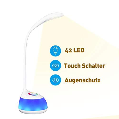 LED Schreibtischlampe, VICTSING 16 LED Kinder Tischlampe dimmbare Nachttischlampe mit Touchfeld, Augenschutz Leselampe, 3 Helligkeit und RGB 256 Farblicht fürLeser, Kinder, Büro