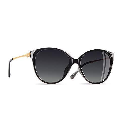 AOFLY Übergröße Mode Polarisierte Katzenbrille Sonnenbrille für frauen Gradientenlinse Metallrahmen Brillenartikel, Schwarz Rahmen/Grau Linse