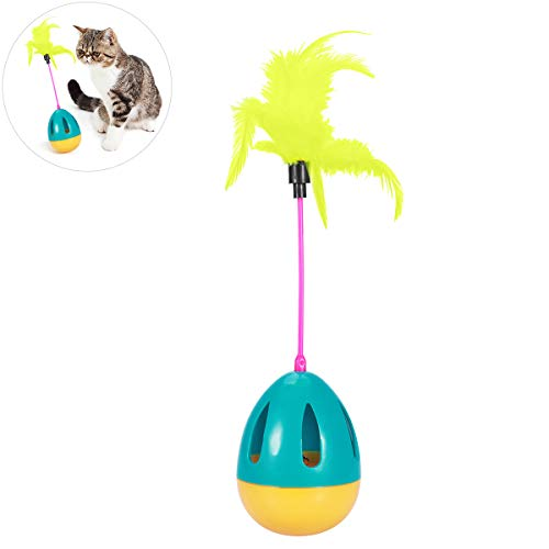 UEETEK Interaktive Katze Spielzeug Tumbler Kitten Spielzeug Ball mit Federn unterhaltsame Lustige Spielzeug Ball