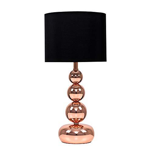 MiniSun – Touch-Me Tischlampe mit kupferfarbigen Kugeln und einem schwarzen Lampenschirm aus Samt/Seide – Tischleuchte