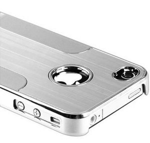 Luxury Rich Look Steel Aluminum W/Chrome Snapon Hard Cover Case for iPhone 4 4S 4G - Silver