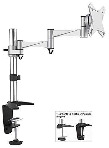 RICOO Monitor Tischhalterung für Monitore Monitorhalterung TS3211 Universal Monitorständer Schwenkbar Neigbar Höhenverstellbar Schreibtisch Bildschirmständer Bildschirm Tisch Ständer Monitorhalterungen VESA 75x75 100x100 / Silber