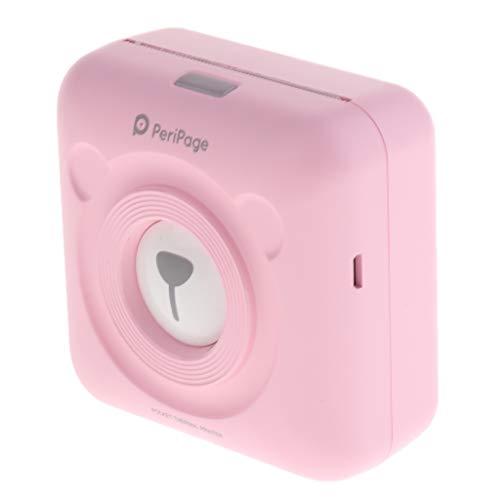 Homyl Tragberer Thermobondrucker Taschenformat Thermopapier Fotodrucker unterstützt USB und Bluetooth mit Papier -Rosa