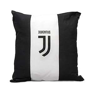 Cuscino Arredo Fc Juventus 40x40 Bianco/Nero Striscia Bianca