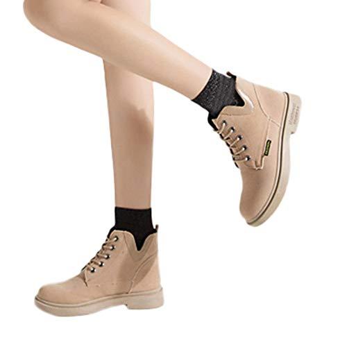 OSYARD Damen Combat Boots Ankle Stiefeletten Schnürer Schuh Leder Biker Boots, Frauen Lace-Up Shoes Stiefel Wärmer Wandern Schneeschuhe Flache Booties(235/38, Beige)