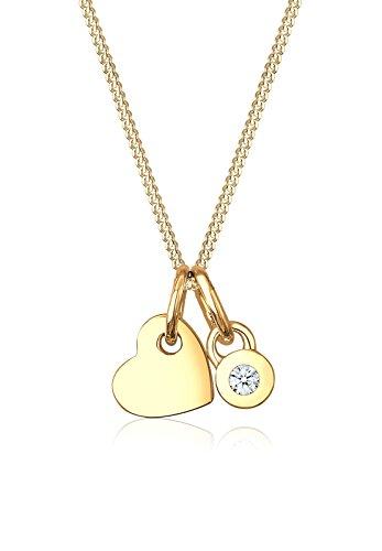k Halskette Kette mit Anhänger Herz Liebe Freundschaft Liebesbeweis 585er Gelbgold Diamant 0,03 Karat Gold Länge 45 cm ()