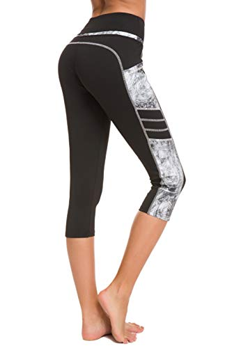 Munvot Damen Sporthose Sport leggings Tights, Yb1931-68(grau Muster), XL (DE44-46)
