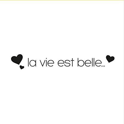 Schöne Herz Wandaufkleber Text La Vie Est Belle Mit Herz Vinyl Wandtattoos Wasserdichte Kunst Aufkleber Dekoration 14X90 cm
