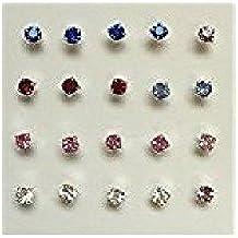 Confezione da 20 in argento Sterling, a forma di naso, colori assortiti, 3 mm, confezione da 160