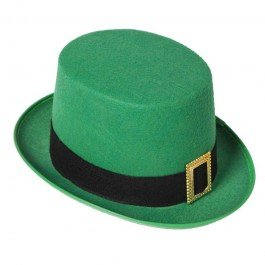 Leprechaun Green Top Hat with gold buckle St Patrick - Green Day Hat
