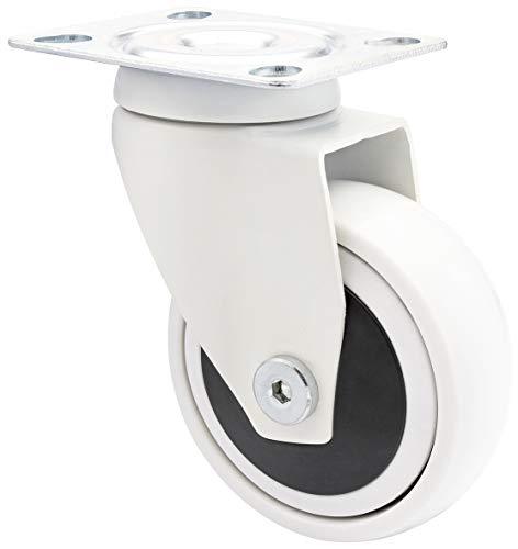 WAGNER Design - 3C - Lenkrolle / Apparaterolle / Möbelrolle - weiß, Softlauffläche, Durchmesser 75 mm, Kugellager, Tragkraft 75 kg - 01227601
