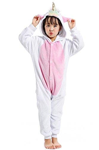 achsene Cosplay Unisex Einhorn Loungewear Tierkostüm Pyjamas(125cm,Kinder Goldenes Horn) ()