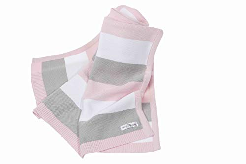 Coperta per neonati e bambini in cotone biologico 100% - per passeggino, carrozzina, lettino, seggiolino, comoda e morbida, ipoallergenica e antibatterica (rosa, 90x70)