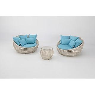 Set lounge Rattan Off-White Cushions Turquoise Blue Swala