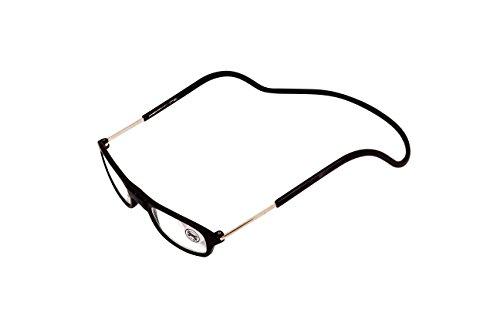 Designer-Lesebrille mit Umhängeband, zum Lesen/am Computer arbeiten, kann Abends verwendet werden, reduziert die Belastung der Augen | mit Rand, faltbar, verstellbare Seiten, Magnetische vorderseite | für Damen, Herren ... (schwarz, +2.0)