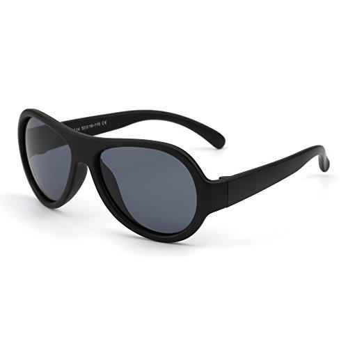 JM Kinder Gummi Polarisiert Sonnenbrille Unzerbrechlich Mädchen Jungen Alter 3-12(Matt Schwarz/Grau)