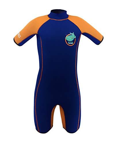 Team Magnus Neoprenanzug Shorty 5mm extra WARM für Kinder Devilfish (Navy/orange, 116)