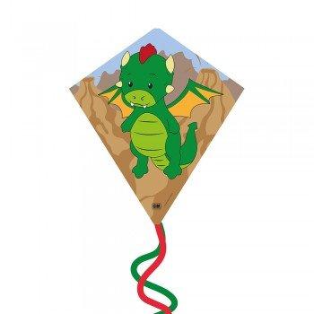 Einleiner-Drachen - Eddy-S DRAGON - für Kinder ab 3 Jahren - Abmessung: 50x56cm - inkl. 40m Drachenschnur und Streifenschwänze