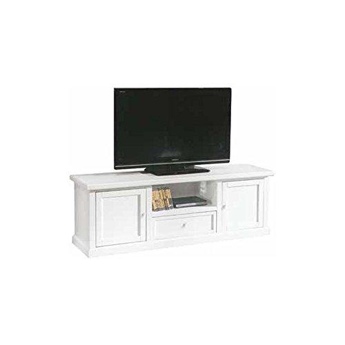 Meuble TV, Style Classique, en Bois Massif et MDF avec Finition Blanc Mat - Dim. 45 x 160 x 56