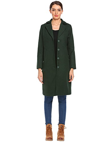 Damen Mantel Einreihiger Wollmantel Knielang Wintermantel Einfarbig TrenchCoat Langmantel Winter schwarz grün braun (Grüner Mantel Für Frauen)