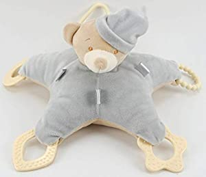 Duffi Baby- Peluche Osito y Mordedor, 100% Poliéster, Color Plata (Master Baby Home, S.L. 0766-11)